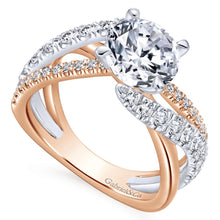 Load image into Gallery viewer, Gabriel Bridal Collection White and Pink Gold Free Form Engagement Ring (0.79 ctw)