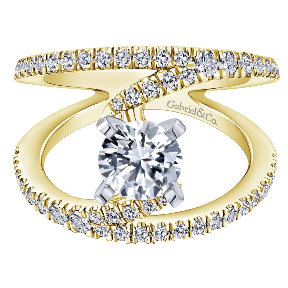 Gabriel Bridal Collection Yellow Gold Split Shank Engagement Ring (0.68 ctw)