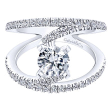 Load image into Gallery viewer, Gabriel Bridal Collection White Gold Diamond French Diamond Accent Split Shank Renewal Engagement Ring (0.68 ctw)