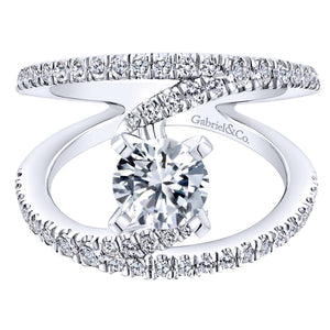 Gabriel Bridal Collection White Gold Diamond French Diamond Accent Split Shank Renewal Engagement Ring (0.68 ctw)
