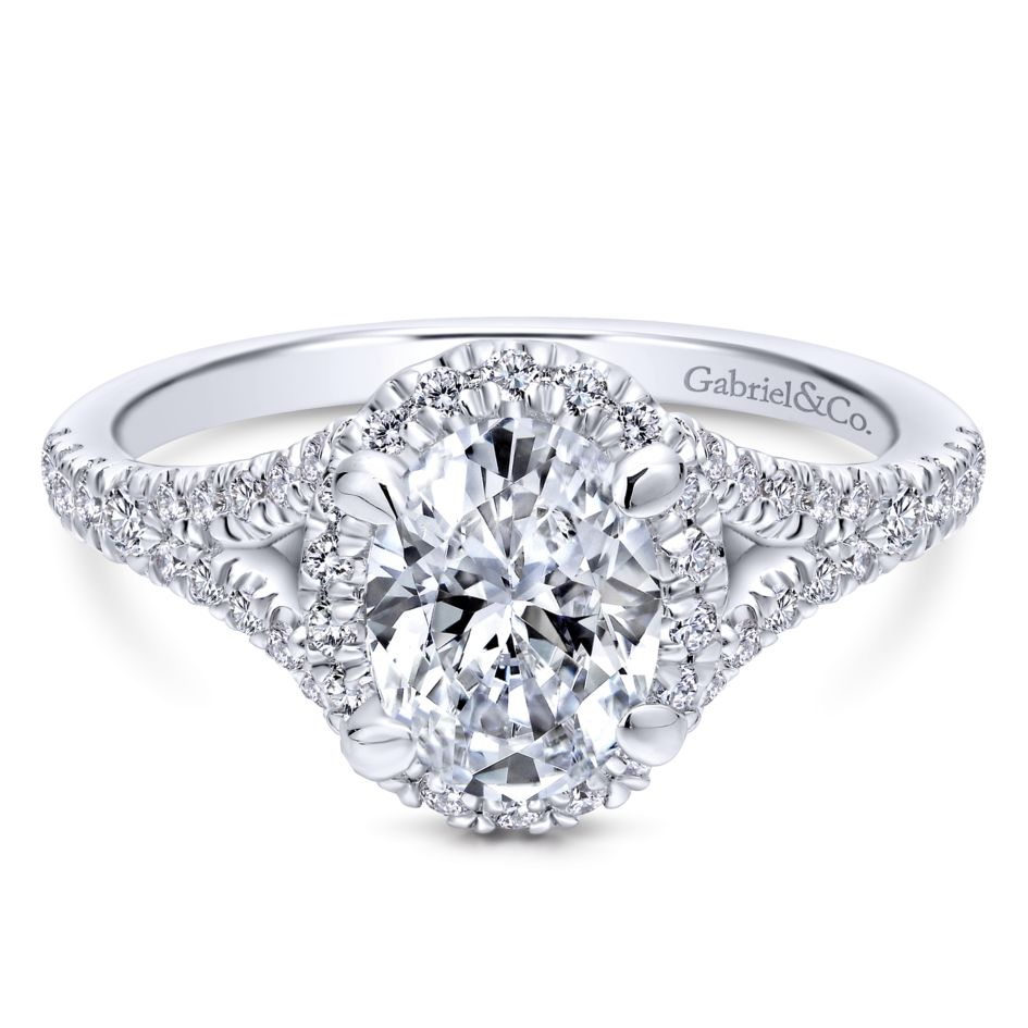 Gabriel Bridal Collection White Gold Halo Engagement Ring (0.4946 ctw)