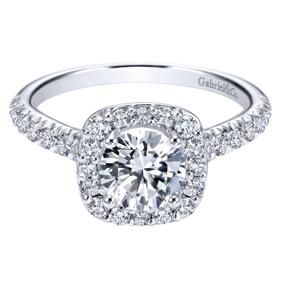 Gabriel Bridal Collection White Gold Halo Engagement Ring (0.42 ctw)