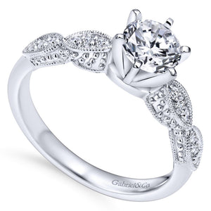 Gabriel Bridal Collection White Gold Diamond Filigree Shank Straight Engagement Ring (0.1 ctw)