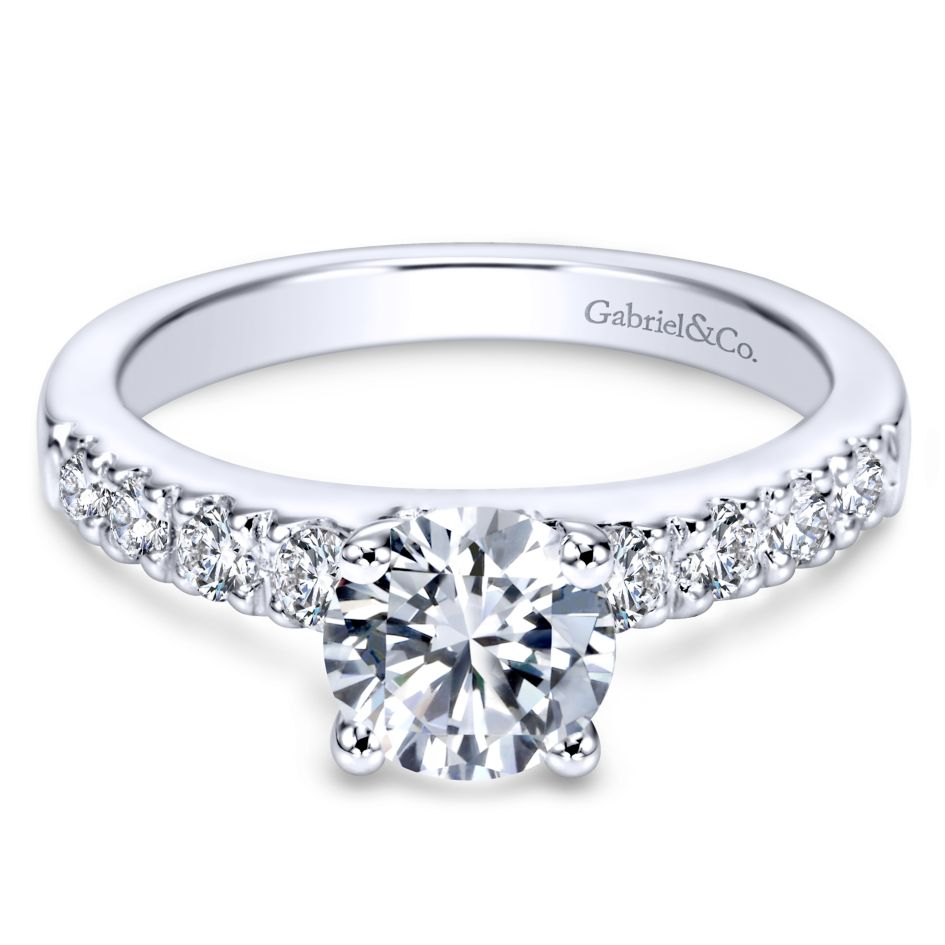 Gabriel Bridal Collection White Gold Straight Engagement Ring (0.4 ctw)