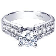 Load image into Gallery viewer, Gabriel Bridal Collection White Gold Double Diamond Accent European Shank Diamond Engagement Ring (0.52 ctw)