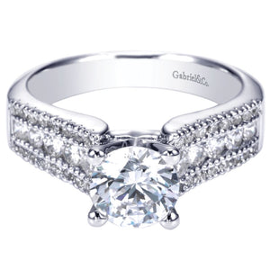 Gabriel Bridal Collection White Gold Double Diamond Accent European Shank Diamond Engagement Ring (0.52 ctw)