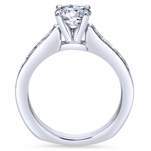 Gabriel Bridal Collection White Gold Diamond Straight Channel Engagement Ring with European Shank (0.51 ctw)