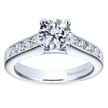 Load image into Gallery viewer, Gabriel Bridal Collection White Gold Diamond Straight Channel Engagement Ring with European Shank (0.51 ctw)