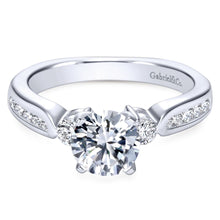 Load image into Gallery viewer, Gabriel Bridal Collection White Gold Diamond 3 Stones Engagement Ring with European Channel Shank (0.33 ctw)