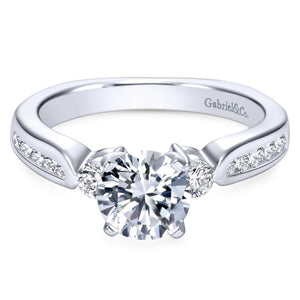 Gabriel Bridal Collection White Gold Diamond 3 Stones Engagement Ring with European Channel Shank (0.33 ctw)