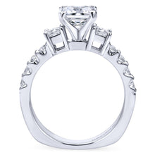 Load image into Gallery viewer, Gabriel Bridal Collection White Gold Diamond 3 Stone Princess Cut Engagement Ring with European Shank (0.51 ctw)