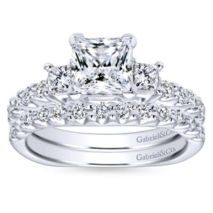 Gabriel Bridal Collection White Gold Diamond 3 Stone Princess Cut Engagement Ring with European Shank (0.51 ctw)