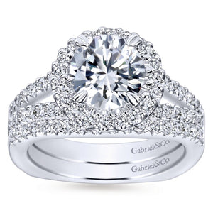 Gabriel Bridal Collection White Gold Diamond Accent Diamond Halo Engagement Ring with European Split Shank (0.55 ctw)