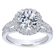 Load image into Gallery viewer, Gabriel Bridal Collection White Gold Diamond Accent Diamond Halo Engagement Ring with European Split Shank (0.55 ctw)