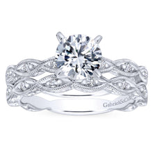 Load image into Gallery viewer, Gabriel Bridal Collection White Gold Diamond Straight Filigree Engagement Ring with Round Center (0.13 ctw)