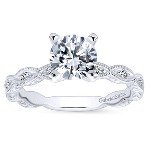 Gabriel Bridal Collection White Gold Diamond Straight Filigree Engagement Ring with Round Center (0.13 ctw)