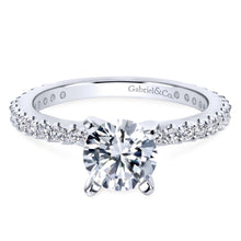 Load image into Gallery viewer, Gabriel Bridal Collection White Gold Petite Diamond Accent Diamond Engagement Ring with Straight Band (0.38 ctw)