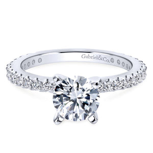 Gabriel Bridal Collection White Gold Petite Diamond Accent Diamond Engagement Ring with Straight Band (0.38 ctw)