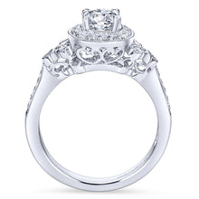 Load image into Gallery viewer, Gabriel Bridal Collection White Gold Halo Engagement Ring with Scroll Work Accent Stones (0.27 ctw)