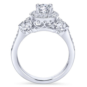 Gabriel Bridal Collection White Gold Halo Engagement Ring with Scroll Work Accent Stones (0.27 ctw)