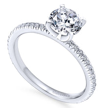 Load image into Gallery viewer, Gabriel Bridal Collection White Gold Petite Diamond Accent Diamond Engagement Ring with Straight Band (0.17 ctw)