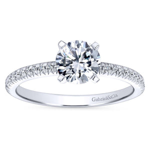 Gabriel Bridal Collection White Gold Petite Diamond Accent Diamond Engagement Ring with Straight Band (0.17 ctw)
