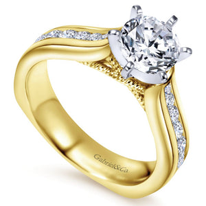 Gabriel Bridal Collection Yellow Gold Straight Engagement Ring (0.54 ctw)