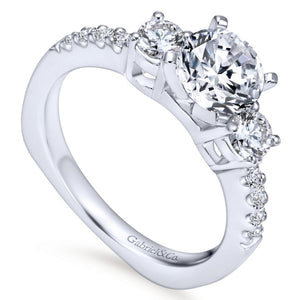 Gabriel Bridal Collection White Gold 3 Stones Engagement Ring (0.58 ctw)