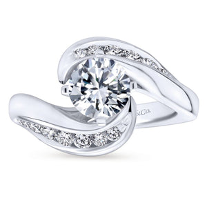 Gabriel Bridal Collection White Gold Diamond Channel Bypass Engagement Ring (0.55 ctw)