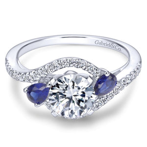 Gabriel Bridal Collection White Gold Diamond Diamond Accent And Sapphire Bypass Engagement Ring (0.2 ctw)