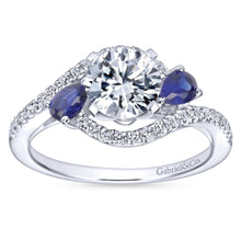 Load image into Gallery viewer, Gabriel Bridal Collection White Gold Diamond Diamond Accent And Sapphire Bypass Engagement Ring (0.2 ctw)