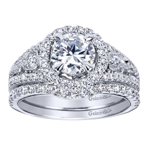 Gabriel Bridal Collection White Gold Halo Engagement Ring (0.48 ctw)