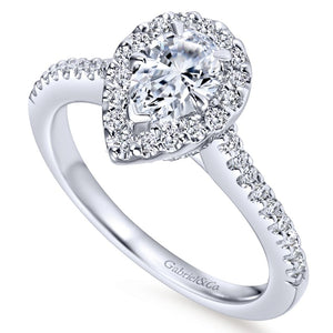 Gabriel Bridal Collection White Gold Diamond Diamond Accent Pear Shape Halo Engagement Ring (0.32 ctw)
