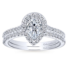 Load image into Gallery viewer, Gabriel Bridal Collection White Gold Diamond Diamond Accent Pear Shape Halo Engagement Ring (0.32 ctw)