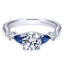 Load image into Gallery viewer, Gabriel Bridal Collection White Gold Diamond And Sapphire Twisted Shank Engagement Ring with Rounded Shank (0.1 ctw)