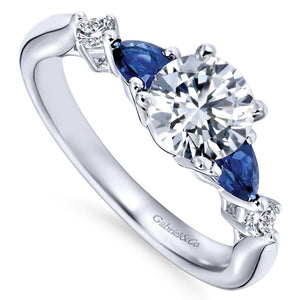 Gabriel Bridal Collection White Gold Diamond And Sapphire Twisted Shank Engagement Ring with Rounded Shank (0.1 ctw)