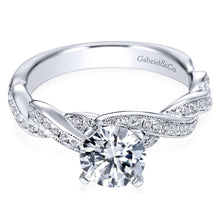 Load image into Gallery viewer, Gabriel Bridal Collection White Gold Diamond Milgrain Diamond Accent Criss Cross Engagement Ring (0.29 ctw)