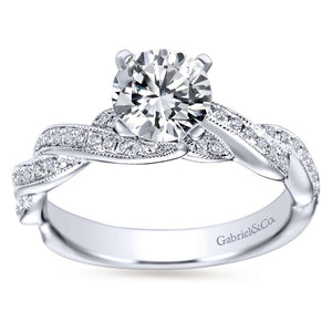 Gabriel Bridal Collection White Gold Diamond Milgrain Diamond Accent Criss Cross Engagement Ring (0.29 ctw)