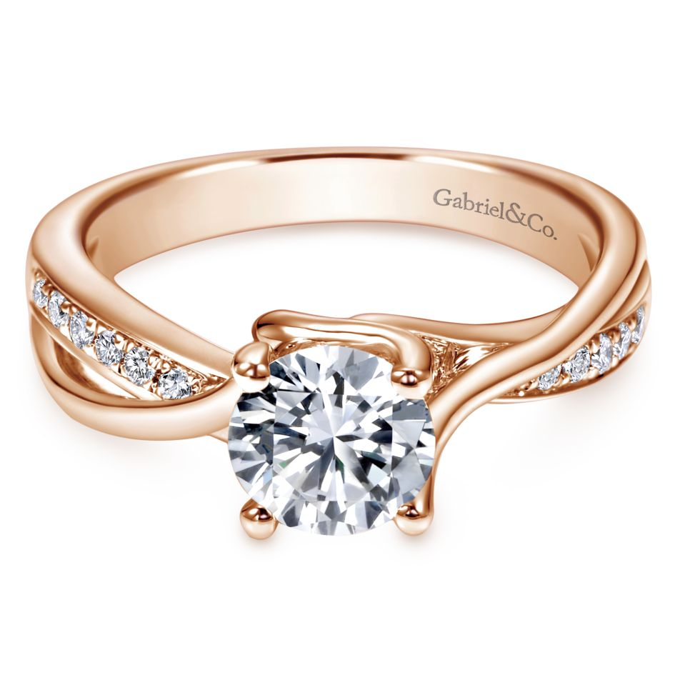 Gabriel Bridal Collection Rose Gold Bypass Engagement Ring (0.16 ctw)