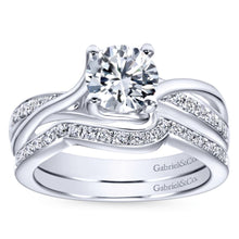 Load image into Gallery viewer, Gabriel Bridal Collection White Gold Diamond Accent Diamond Bypass Engagement Ring (0.16 ctw)