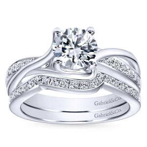 Gabriel Bridal Collection White Gold Diamond Accent Diamond Bypass Engagement Ring (0.16 ctw)