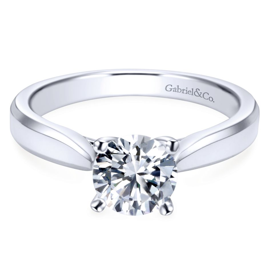 Gabriel Bridal Collection White Gold Round Solitaire Engagement Ring with Trellis Setting (0 ctw)