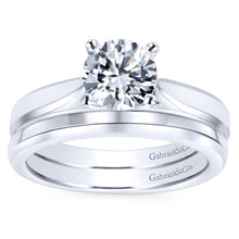 Load image into Gallery viewer, Gabriel Bridal Collection White Gold Round Solitaire Engagement Ring with Trellis Setting (0 ctw)