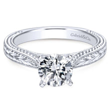 Load image into Gallery viewer, Gabriel Bridal Collection White Gold Straight Hand Cut Etching Engagement Ring with Cathedral Setting (0 ctw)