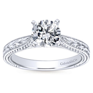 Gabriel Bridal Collection White Gold Straight Hand Cut Etching Engagement Ring with Cathedral Setting (0 ctw)