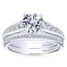 Load image into Gallery viewer, Gabriel Bridal Collection White Gold Graduating Diamond Accent Diamond Engagement Ring with Cathedral Setting (0.49 ctw)