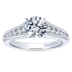 Gabriel Bridal Collection White Gold Graduating Diamond Accent Diamond Engagement Ring with Cathedral Setting (0.49 ctw)