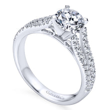 Load image into Gallery viewer, Gabriel Bridal Collection White Gold Diamond Accent Split Shank Diamond Engagement Ring with Round Center (0.4 ctw)