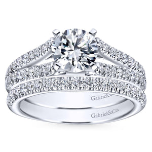 Gabriel Bridal Collection White Gold Diamond Accent Split Shank Diamond Engagement Ring with Round Center (0.4 ctw)