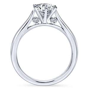 Gabriel Bridal Collection White Gold Solitaire Diamond Engagement Ring with Rounded Shank (0.03 ctw)